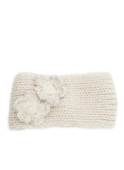 Flower Knitted Headband - NATURAL - 1183042742929