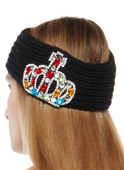 Jeweled Crown Knit Headband - 1183042743333