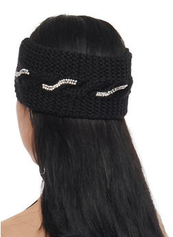Cable Knit Headband with Metallic Studs - BLACK - 1183042743700