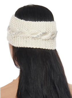 Cable Knit Headband with Metallic Studs - IVORY - 1183042743700
