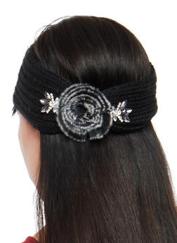 Jeweled Pom Pom Knit Headband - 1183042745555
