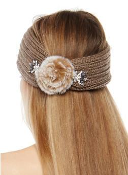 Jeweled Pom Pom Knit Headband - 1183042745555