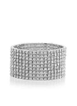 Rhinestone Stretch Cuff Bracelet - 1193003200841