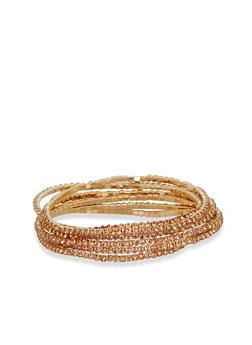 Set of 4 Rhinestone Encrusted Stretch Bracelets - 1193018432285