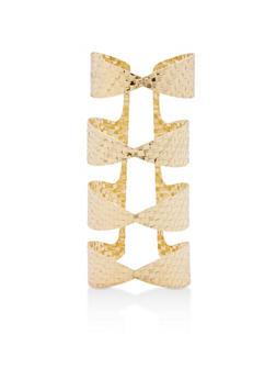 Metallic Woven Long Cuff Bracelet - 1193018436463