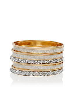 Plus Size Metallic Rhinestone and Glitter Bangles - 1193018436543