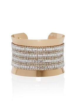 Metallic Rhinestone Cuff Bracelet - 1193018436559