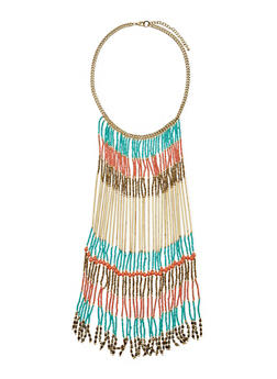 Beaded Fringe Statement Necklace - 1193018438130