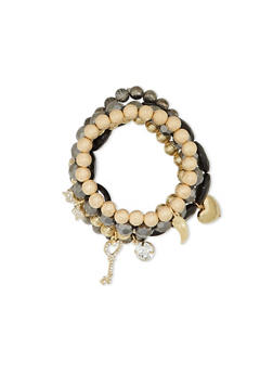 Set of 5 Beaded Stretch Bracelets with Charms - 1193035150374