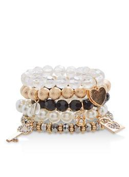 Set of 5 Glass Beaded Stretch Bracelets - 1193035150376