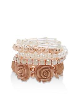 Rose Bead Faux Pearl Stretch Bracelets - 1193035151985