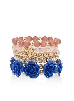 Set of 5 Rose Bead Stretch Bracelets - 1193035151991