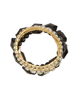 Set of 5 Crystal and Rhinestone Stretch Bracelets - 1193035152361