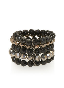 Layered Beaded Stretch Bracelet - 1193035153857