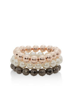 Trio of Beaded Stretch Bracelets - 1193035154845