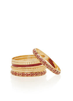 Plus Size Set of 9 Bangle Bracelets - 1193035155427