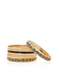 Plus Size Set of 9 Bangle Bracelets - 1193035155427