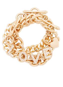 Set of 3 Metallic Chain Toggle Bracelets - 1193035155590