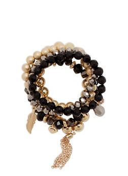 Set of 5 Beaded Stretch Bracelets - 1193035155948