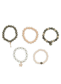 Beaded Faux Pearl Charm Stretch Bracelets - 1193035157795