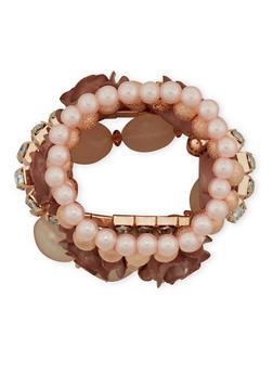 Set of 5 Assorted Rhinestone Beaded Bracelets - 1193035158256