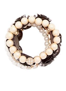 Set of 5 Assorted Rose Stretch Bracelets - 1193035158262