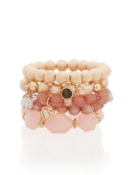Set of 5 Beaded Metallic Bracelets - 1193035158265