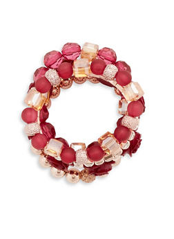 Set of 5 Assorted Rose Stretch Bracelets - 1193035158268