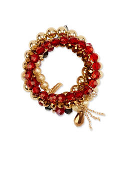 Set of 5 Stretch Bracelets with Charms - 1193035158495
