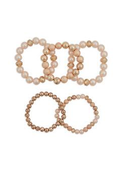 Set of 5 Faux Pearl Stretch Bracelets - 1193035158709