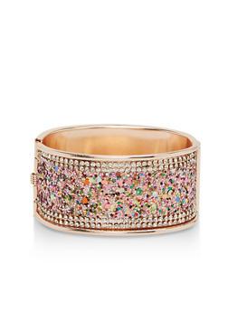 Glitter and Rhinestone Hinge Cuff - 1193057690983