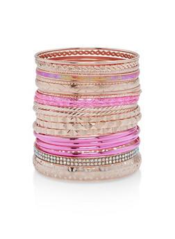 Metallic Multi Color Set of Bangles - 1193057698425