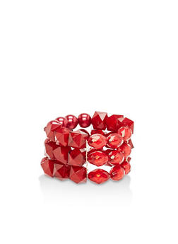 Wine Beaded Stretch Bracelet - 1193059633920