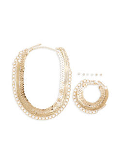 Set of Metallic Chain Necklace Bracelet and Earrings - 1193059635432