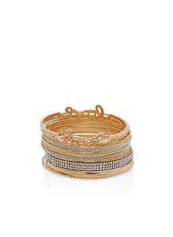 Set of Rhinestone Glitter and Love Bangles - 1193062813374