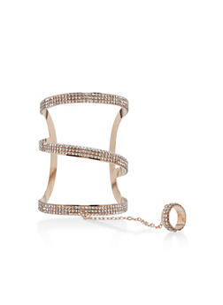 Rhinestone Ring Hand Chain Bracelet - 1193062816186