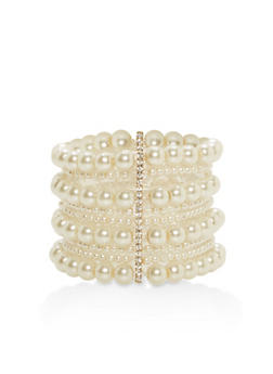 Multi Layer Faux Pearl Stretch Bracelet - 1193062818314