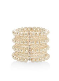 Multi Layer Faux Pearl Stretch Bracelet - 1193062818314