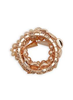 Set of 5 Metallic Beaded Bracelets - 1193062920431