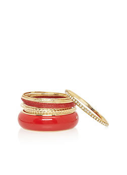 Plus Size Set of 13 Etched Bracelets with Rhinestones and Large Bangle - 1193062927060