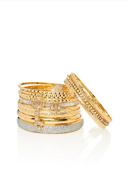 Set of 12 Assorted Bangles with Charms - 1193062927067