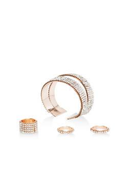 Rhinestone Cuff Bracelet with Rings - 1193071439009