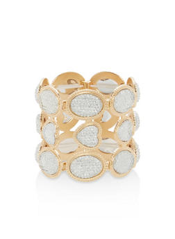 Paved Rhinestone Stretch Bracelet - 1193072690912