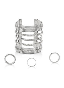 Rhinestone Cuff Bracelet with Rings - 1193072691749