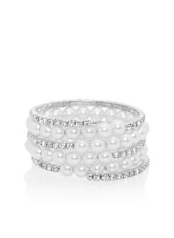 Coiled Bracelet with Faux Pearls and Rhinestones - 1193072691825