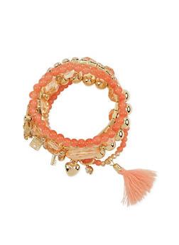 Set of 5 Stretch Bracelets with Bow Charm - 1193072692009