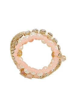 Set of 5 Assorted Stretchy Beaded Rhinestone Charm Bracelets - 1193072692010