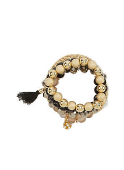 5 Stretch Bracelet Set with Rhinestone Ball and Tassel Charm - 1193072692014