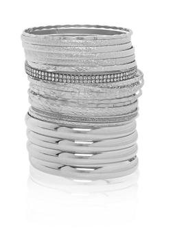 Plus Size Multi Textured Bangles - 1193072692239