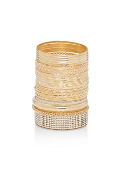 Set of Textured Metallic Bangles - 1193072693121